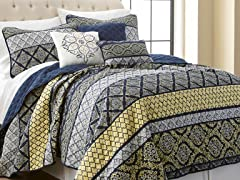 6-Pc Carrie Printed Reversible Quilt Set