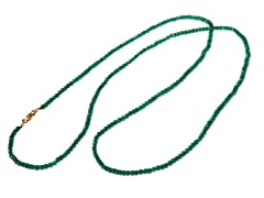 Gold-Plated SS Faceted Genuine Dyed Emerald Bead Necklace