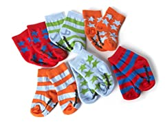 Infant Stars and Stripes 6 Pair Socks