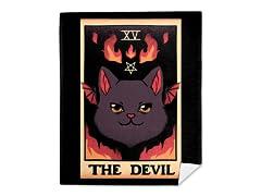 The Devil Cat Tarot Halloween Mink Fleece Blanket