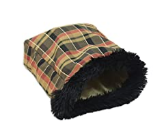 Plaid Caramel-Shaggy Black Pet Bag