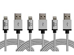 Rhino 2 Meter MFI Apple Lightning Cables - 3 Packs