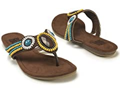 Ruby Beaded Sandals, Dark Brown