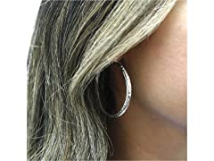 Sterling Silver 40MM Etched Hoops
