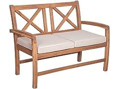 Acacia Wood Patio Loveseat w/ Cushions