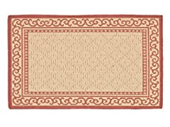 Courtyard 2-PC Rug Set - Natural/Red