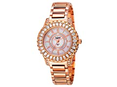 Burgi Women's Swiss Quartz Diamond Rose-Tone Watch