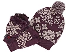 MUK LUKS® Beanie with Gloves Set, Purple