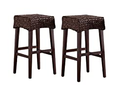 Pair Water Hyacinth Stools- Coutner Stool