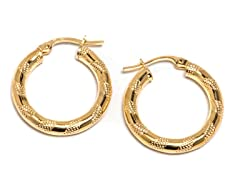 14K Gold Textured Wrap Around Hoop Earring