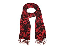 Kitara  World of Flowers Scarf  Red & Black