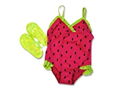 Watermelon Swimsuit & Sandal Set (2T)