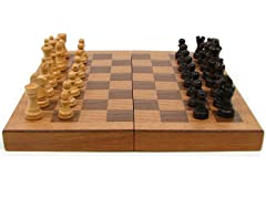 Wood Book Style Chess w/Staunton Men
