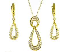 sps15gf 18kt gold plated SS micropave twisted set