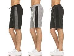 Men's MoistureWick Shorts Zip Pockets 3P