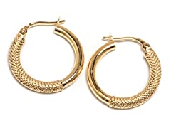 14K Gold Textured Hoop Earring
