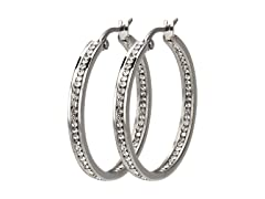 INOX Aria Stainless Steel and CZ Hoop Earrings