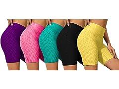 Nextex Womens Ruched HighWaist Shorts 3P