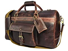 Leather Pocket Weekender Duffle Bag