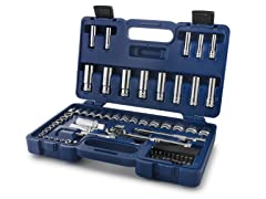 "71 PC 1/4"" & 3/8"" Socket Set w/ Case"