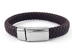 Men's Wide Genuine Leather Bracelet