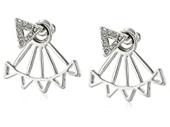 Rebecca Minkoff Two Part Rhodium Triangle Stud Earrings