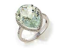 18K Gold Plated Green Amethyst Pear Ring
