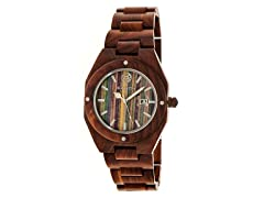 Earth Cypress Wood Bracelet Watch - Red