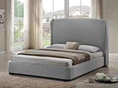 Sheila Gray Linen Modern Bed - Queen