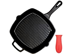Cast Iron Square Grill Pan with Glass Lid - 10.5""