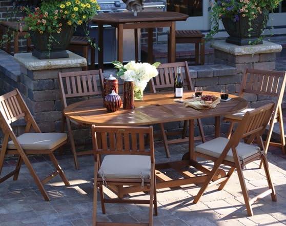 Outdoor interiors 7 pc fold store patio furniture set - Outdoor interiors 7 piece patio set ...