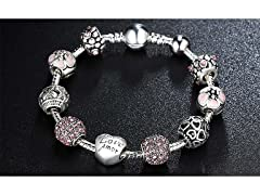 Crystal And Heart Love Amor Bracelet