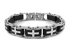 SS Black and White Cross Link Bracelet