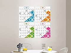 WallPops Bargello Wave 4-Piece Calendar