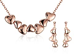 18K Gold Plated Connecting Hearts Set