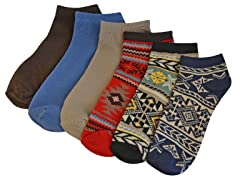 MUK LUKS ® No Show Socks 6-Pack, Painted Desert