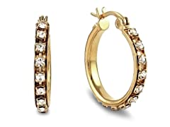 18kt Gold Plated 20mm CZ Hoops