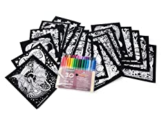 Super 18 Velvet Art Posters + 30 Washable Markers
