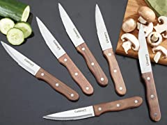 Set of 6 Walnut Steak Knives