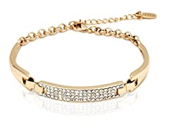Gold/White Swarovski Elements Block Bracelet