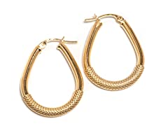 14K Gold Textured Oval Hoop Earring