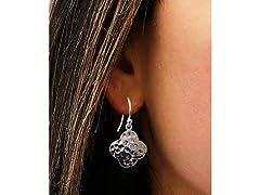 Silver Hammered Disk Drop Earrings