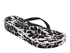 MUK LUKS ® Wedge Flip Flops, Black/White