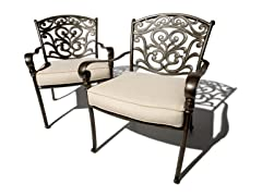 Cast-Aluminum Deep-Seating Arm Chair, Set of 2