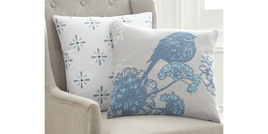2-Pack 100% Cotton Decorative Pillows-French Bird