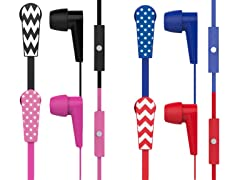 Chevron/Dots HD Stereo Earbuds with Mic