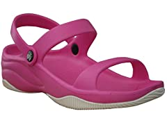 Women's Premium 3-Strap Sandal, Hot Pink / White