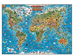Illustrated Children's World Wall Map