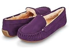 Womens Basic Faux Fur Moccasin Slipper, Purple