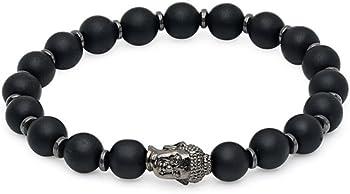 Onyx and Hematite Buddha Bracelet